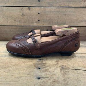 Born Womens Mary Jane Shoes Saddle Brown Wing Tip